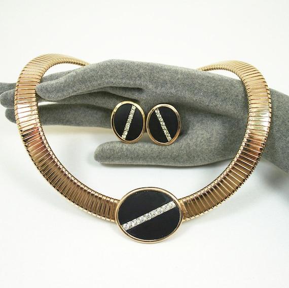 Vintage Necklace Earrings Park Lane Art Deco Style Black Enamel Rhinestone 1950s Jewelry