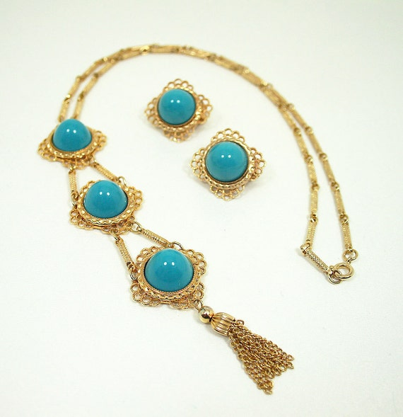 Vintage Hobe Necklace Earrings Goldtone Turquoise Lucite Mod Jewelry