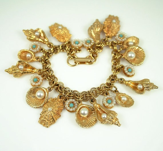 RESERVED for Dobrolet... Vintage Charm Bracelet Ocean Sea Life Faux Pearl Turquoise Jewelry