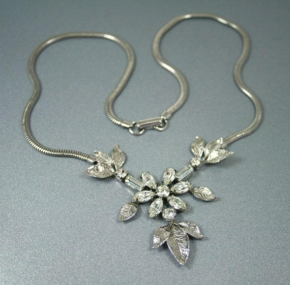 Vintage Leo Glass Sterling Rhinestone Necklace