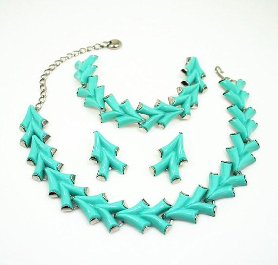 Vintage Necklace Bracelet Earrings Mod Aqua Lucite Jewelry Set