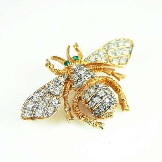 Vintage Brooch Bee Clear Green Rhinestone Figural Pin Jewelry