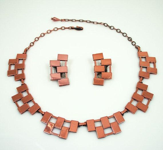 Vintage Renoir Necklace Earrings Copper Modernist Geometric Jewelry Set