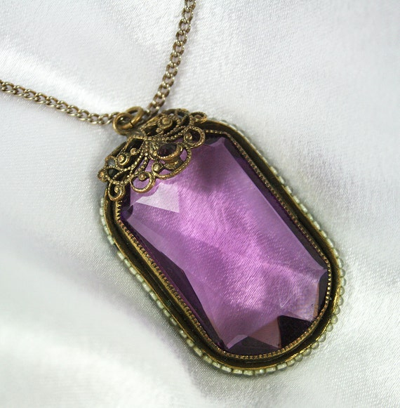Art Deco Pendant Necklace Amethyst Glass Filigree Antique Jewelry