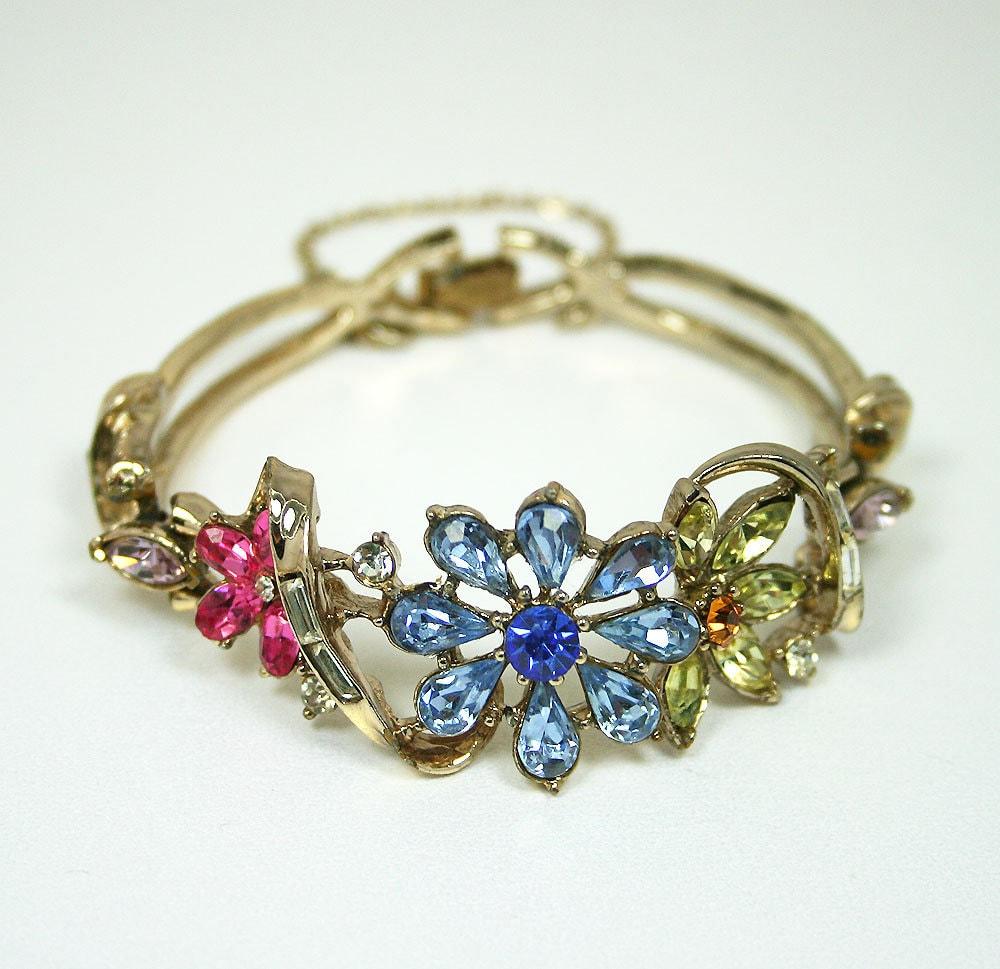 vintage bracelet coro pastel rhinestone floral motif 1950s