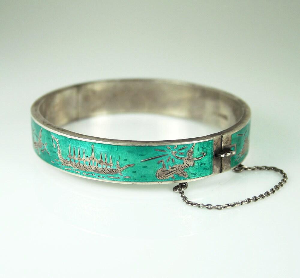 Vintage Siam Sterling Bracelet Teal Enamel Hinged Bangle