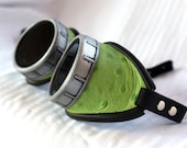 Lime green embossed leather steampunk goggles - basic