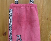 Personalized Children's Bath Wrap/Cover Up- Pink Damask