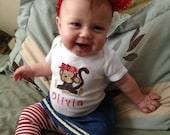 Personalized Embroidered Monkey Bodysuit -Embroidered Infant Bodysuit- Appliqued Monkey Bodysuit