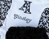Personalized Embroidered Initial Bodysuit and Diaper Cover Set- Baby girl diaper set-Black and White Damask- Fur Diaper Cover-Any Fabric