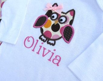 Personalized Polka Owl Bodysuit -Personalized Embroidered Owl Bodysuit- Baby Girl Bodysuit- Infant Bodysuit- Applique Owl Bodysuit