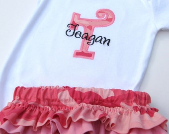 Personalized Pink Camo Diaper Cover Set- Personalized Embroidered Pink Camouflage bodysuit Set-Personalized Pink Camo