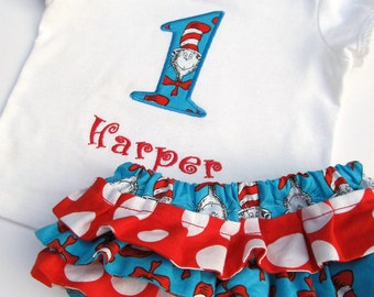 Cat in the Hat fabric Birthday Shirt and Ruffled Diaper Cover Set- Dr. Seuss fabric Appliqued bodysuit Set- Cat Personalized Birthday Set