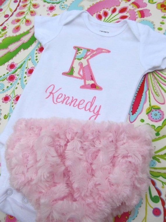Personalized Embroidered Initial Bodysuit and Diaper Cover Set- Baby girl set- Teja in Pink- Any Fabric