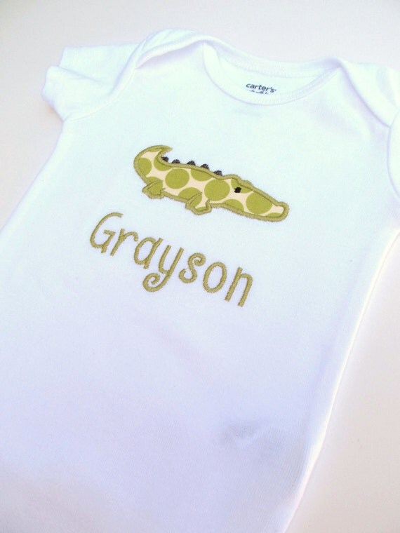 Personalized Embroidered Alligator Bodysuit- Embroidered Boys Infant Bodysuit- Appliqued Alligator Bodysuit