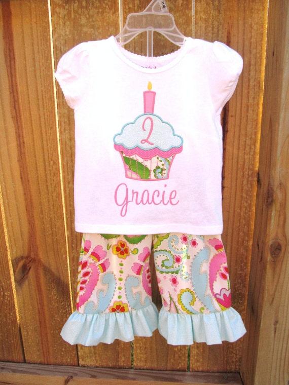 Personalized Birthday Ruffled Pants and Shirt set-  Cupcake Birthday Set- Birthday outfit- Applique Birthday Set