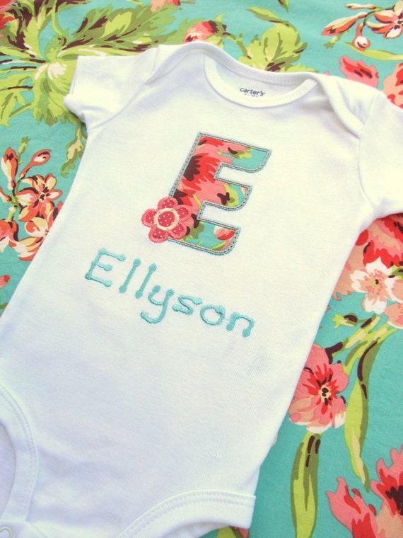 Personalized Embroidered Initial Bodysuit -Embroidered Infant Bodysuit- Appliqued Bodysuit- Any Fabric