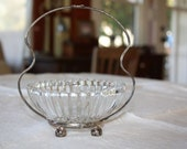 Pretty -antique silver plated- glass inserted- sugar bowl or Jewelry display
