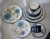 Set of Mikasa Mexicana Sonora Dishes Ben Seibel design Blue Flowers