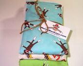 Baby Burp Cloths, Burp Rags. Sock Monkey Design, Set of 3. Baby Gift, Shower Gift