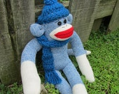 Tradional Blue Sock Monkey Doll with Hat and Scarf