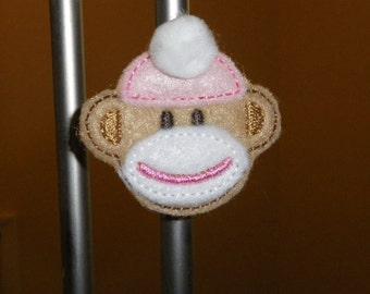 Sock Monkey Magnet, Pink Hat