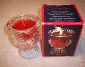 vintage avon 1980-82 clearfire candle in faceted tulip cup