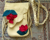 Elk Hide Medicine Bag or Cowgirl Cell Phone Pouch with Red Leather Roses Fae Renaissance Fair