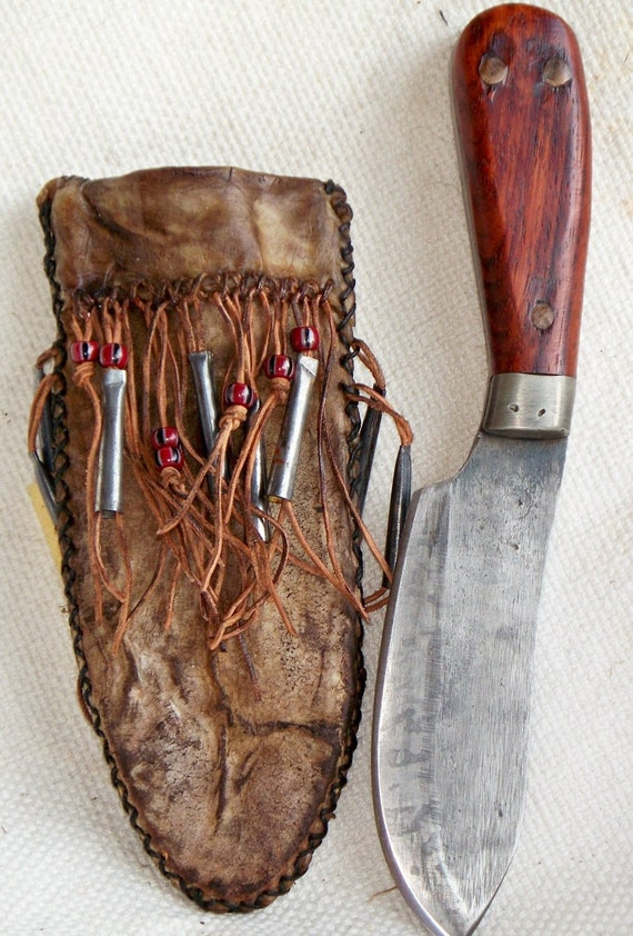 Primitive Nessmuk Hunting Knife With Rawhide Sheath By