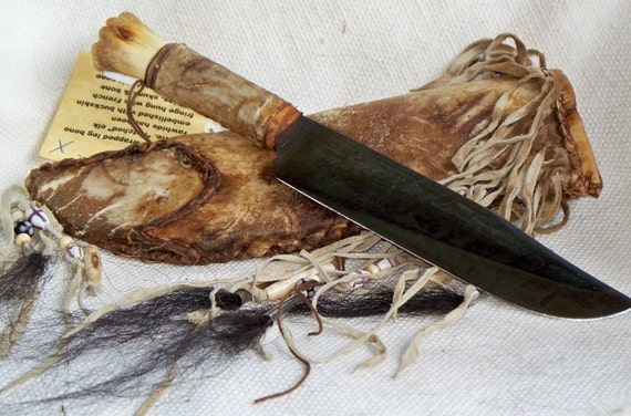 Primitive Bowie Hunting Knife with Decorated Rawhide by ...