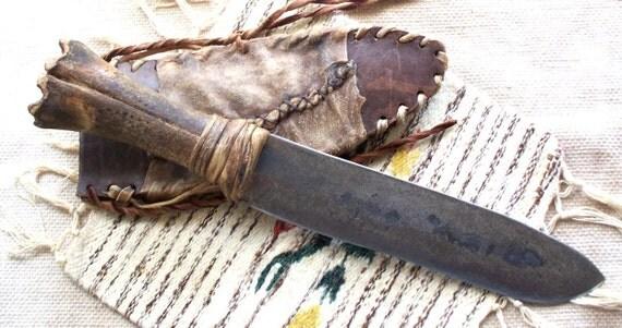 Large Primitive Mountain Man Bone Handle Knife OOAK by ...