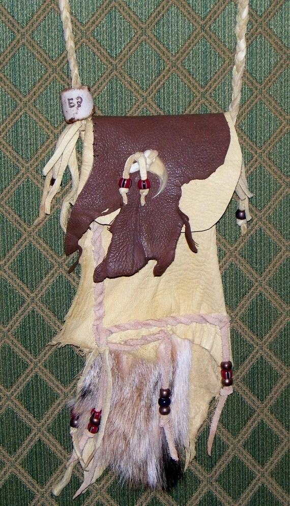 Bobcat Medicine Bag with Handmade Totem Bead Mountain Man or Fur Trade