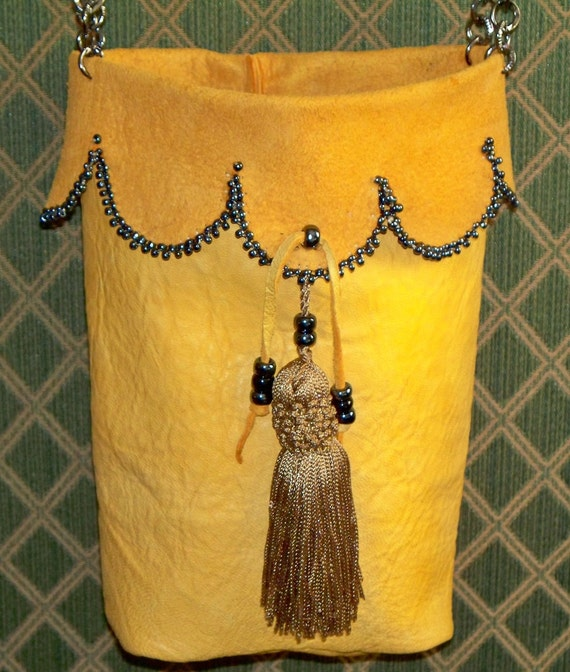 Hand Beaded Ren Faire Renaissance Leather Shoulder Pouch for Wizard or Faerie in You