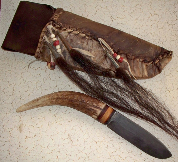 For Wild Jack Reserve was 165 now 145  Primitive Elk Antler Skinning Knife with Mountain Man Rawhide Sheath