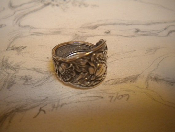 Cultivate The Quiet  Antique Sterling Silver Spoon Ring size 8