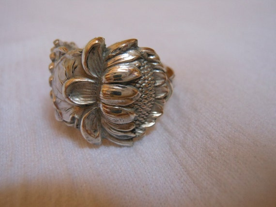 Silver Sunflower Antique Sterling Silver Spoon Ring size 7 and three fourths