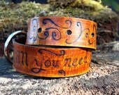 All You Need Is Love  Swirly Engraved Leather Dog Collar