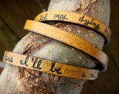 Ultra Long Hand Carved Custom Quote Leather Wrap Bracelet