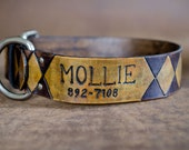 Leather Dog Collar with Harlequin Diamond Pattern