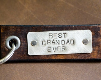 Leather Tag Keychain Best Granddad Ever - Keychain Personalized Leather Key Chain Accessory, Anniversary Gift,Custom Keychain, Wedding Gift,