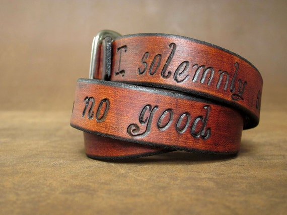 "Wide Adjustable Leather Wrap Bracelet - ""I solemnly swear that I am up to no good."" Harry Potter"