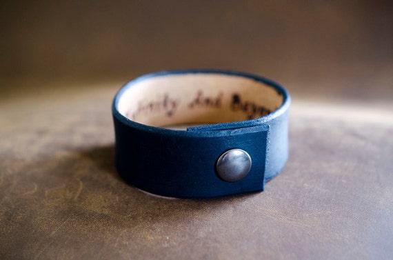 Minimal Black Leather Cuff with Custom Secret Message Hidden Inside