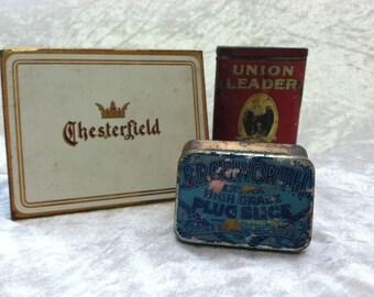 SET - Vintage Tobacco Tin Trio - Chesterfield, Union Leader, Edgeworth 3 tins