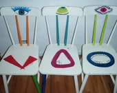 Alien Monster Creature Hand Painted Chair Set of 3