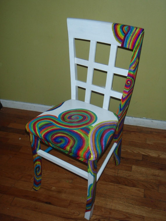 Items similar to hand painted swirl spiral rainbow chair for Painted kitchen chairs