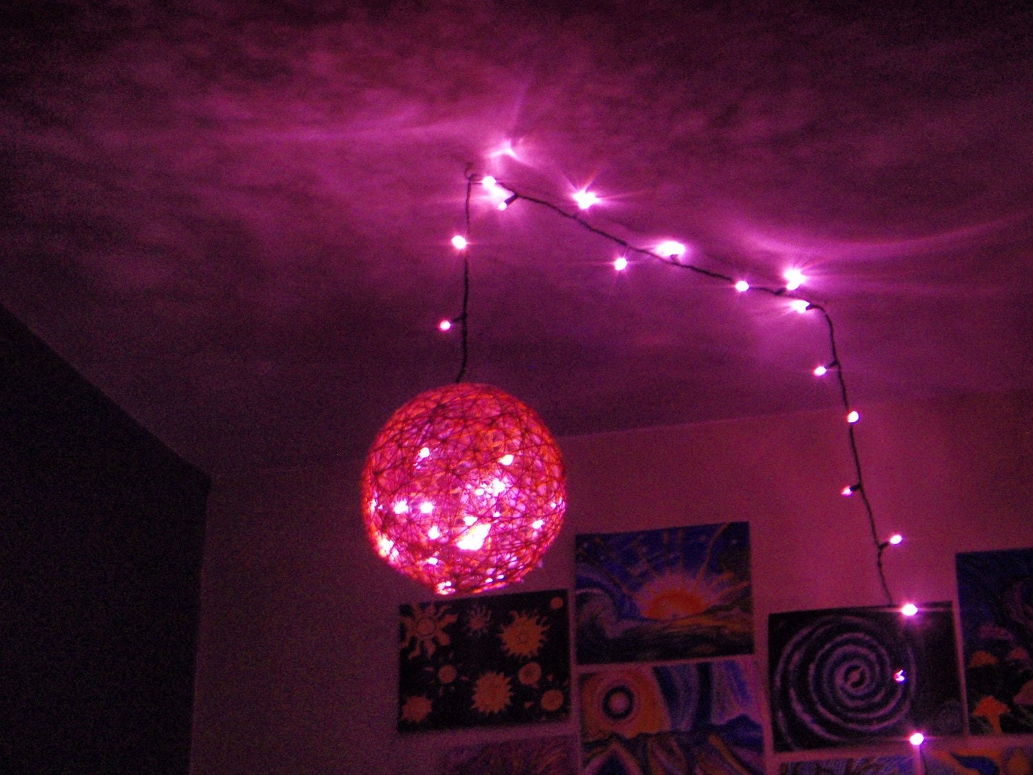 Pink Led Hanging String Light Sphere Chandelier By