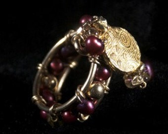 SALE -- Red & Gold Ring -- Red Pearl Ring -- Beaded Red Ring -- Gold and Red Pearl Jewelry -- Unique Ring