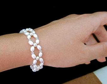 Freshwater Pearl & Crystal Bridal Bracelet -- White Pearl Bracelet --  Handmade Wedding Jewelry