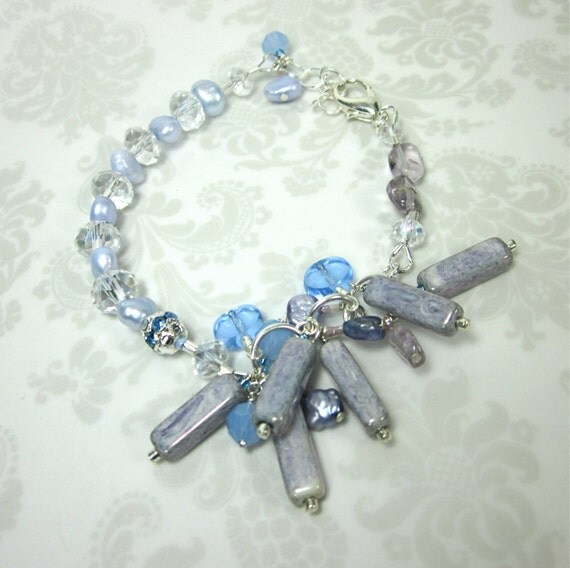 Periwinkle and Lilac bracelet with fresh water pearls, amethyst, and crystals