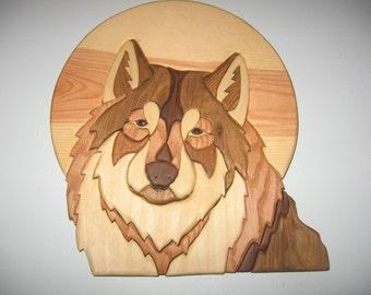 Wolf on Moon, handmade, intarsia, wood art, wall hanging